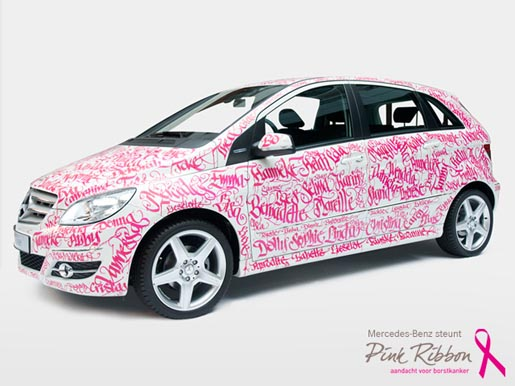 Would you calligraffiti your mercedes for breast cancer for Pink mercedes benz