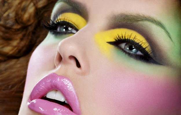 yellow-green-pink-makeup