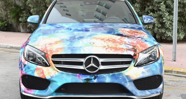 2015 MercedesBenz-C Class featuring an exclusive design by Beach Bunny on display during Mercedes Benz Fashion Week Swim 2015