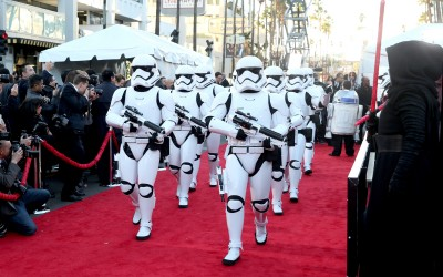 """HOLLYWOOD, CA - DECEMBER 14:  Stormtroopers attend the World Premiere of """"Star Wars: The Force Awakens"""" at the Dolby, El Capitan, and TCL Theatres on December 14, 2015 in Hollywood, California.  (Photo by Jesse Grant/Getty Images for Disney)"""