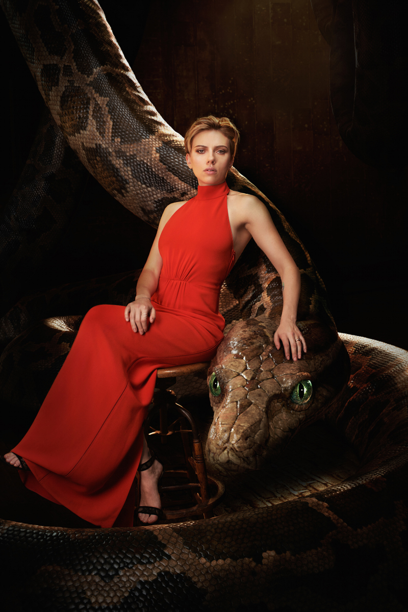 """THE JUNGLE BOOK - Kaa is a massive python who uses her voice and hypnotic gaze to entrance Mowgli. The man-cub can't resist her captivating embrace. """"Kaa seduces and entraps Mowgli with her storytelling,"""" says Scarlett Johansson. """"She's the mirror into Mowgli's past. The way she moves is very alluring, almost coquettish."""" Photo by: Sarah Dunn. ©2016 Disney Enterprises, Inc. All Rights Reserved."""