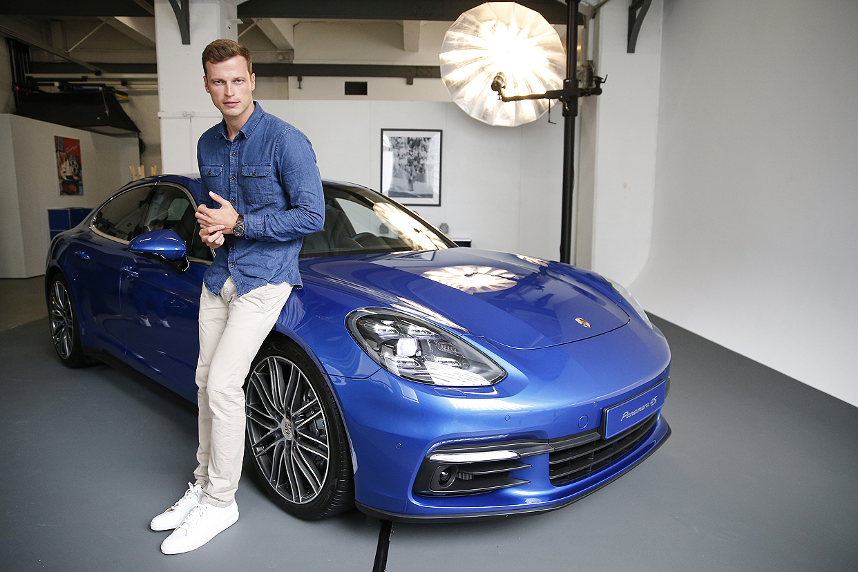 HAMBURG, GERMANY - SEPTEMBER 05: Topmodel Lars Burmeister attends the Porsche Panamera sneak preview on September 5, 2016 in Hamburg, Germany. (Photo by Franziska Krug/Getty Images for Porsche AG)